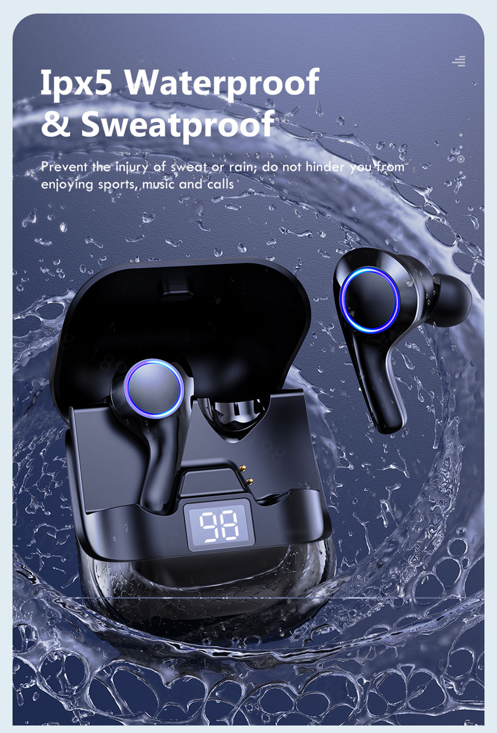 PT08 Bluetooth Earphones Wireless Bluetooth Headset Sports Waterproof Music TWS Audio LED Display Touch Control Microphone - Black