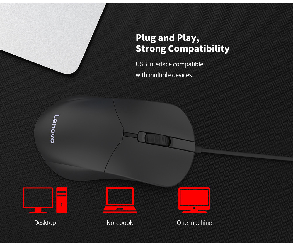 Lenovo M101 Mouse Notebook Business Office Household USB Mouse Computer Wired Mouse - Black Plug and Play, Strong Compatibility