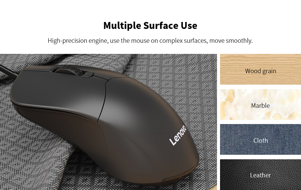 Lenovo M101 Mouse Notebook Business Office Household USB Mouse Computer Wired Mouse - Black Multiple Surface Use