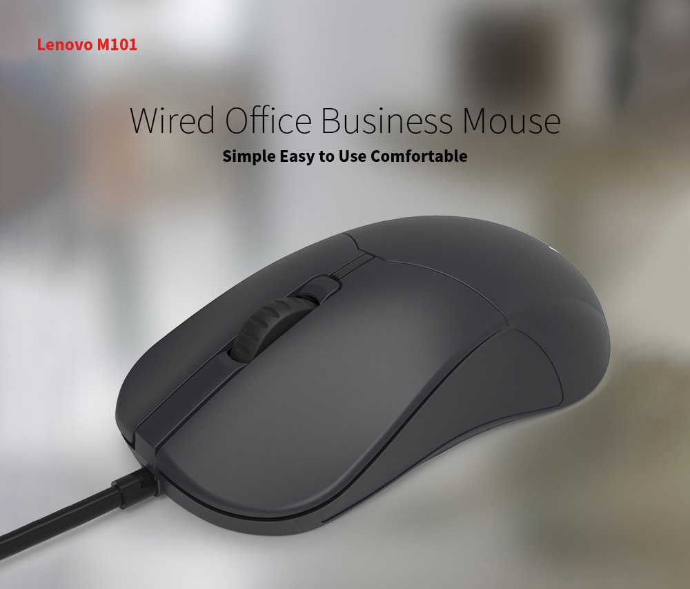 Lenovo M101 Mouse Notebook Business Office Household USB Mouse Computer Wired Mouse - Black Wired Office Business Mouse