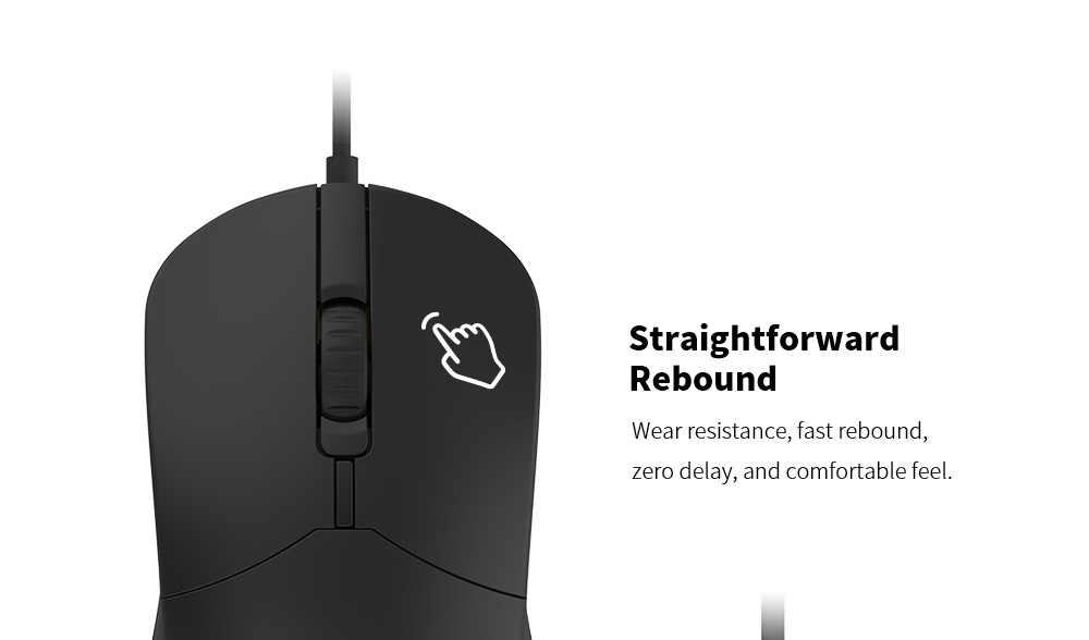 Lenovo M101 Mouse Notebook Business Office Household USB Mouse Computer Wired Mouse - Black Straightforward Rebound