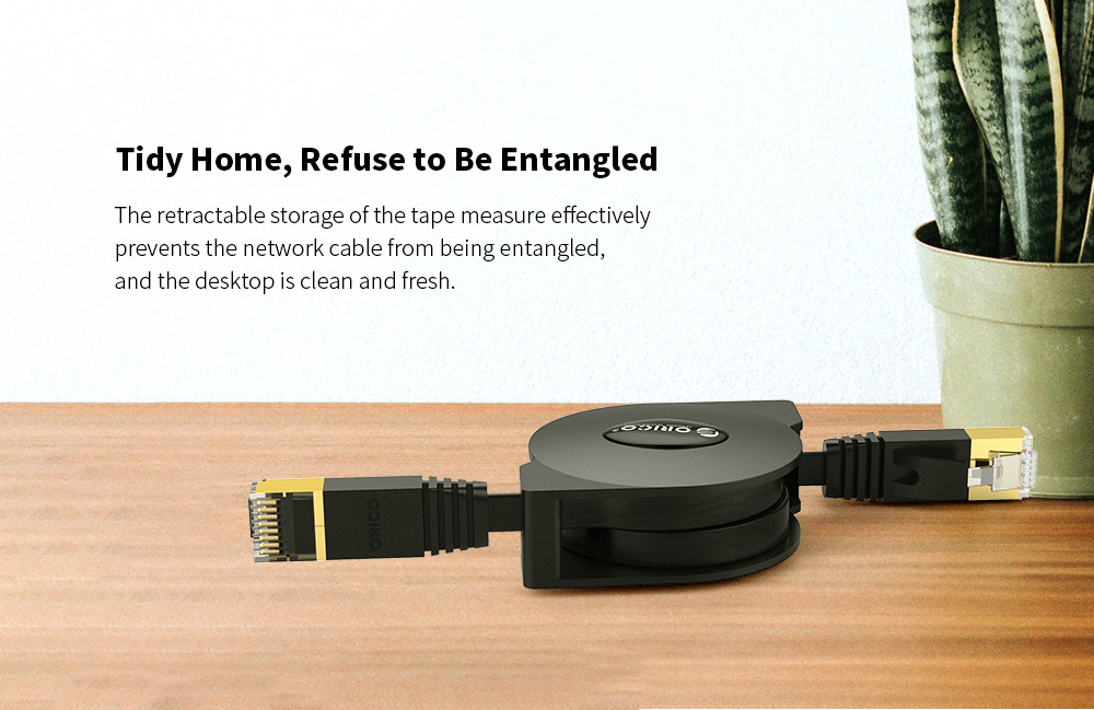 ORICO PUG-LGC6 Telescopic Network Cable Flat Category 6 Gigabit Computer Broadband Portable Network Line 2M - Black Tidy Home, Refuse to Be Entangled