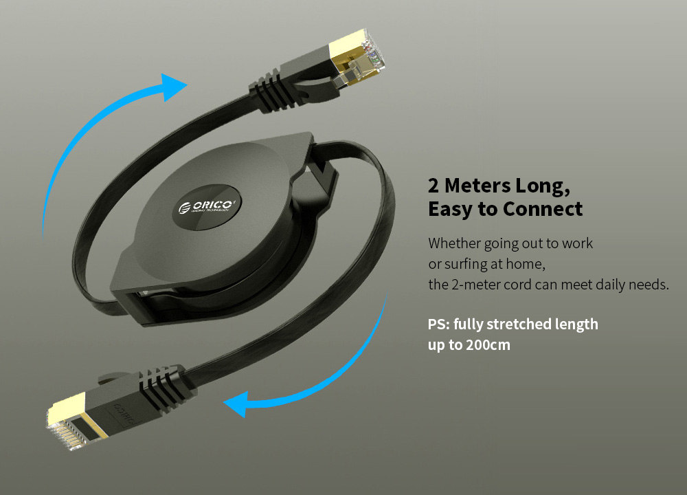 ORICO PUG-LGC6 Telescopic Network Cable Flat Category 6 Gigabit Computer Broadband Portable Network Line 2M - Black 2 Meters Long, Easy to Connect