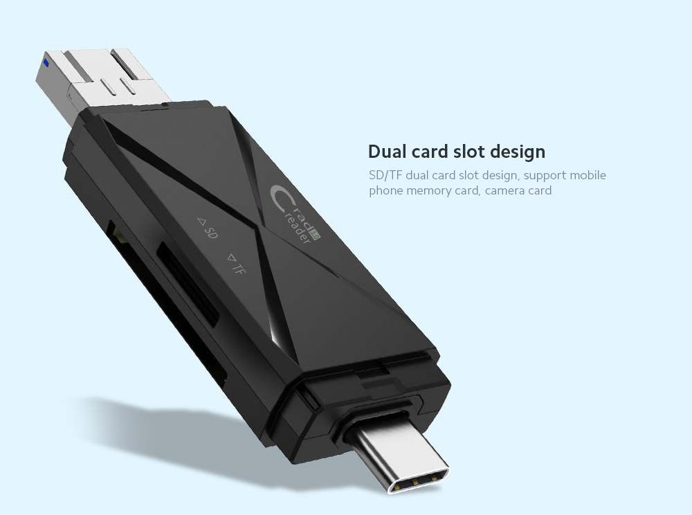 Card Reader All-in-One SD Big Card TF Card Mini OTG Android USB Type-C Mobile Phone Camera Memory Card - Black