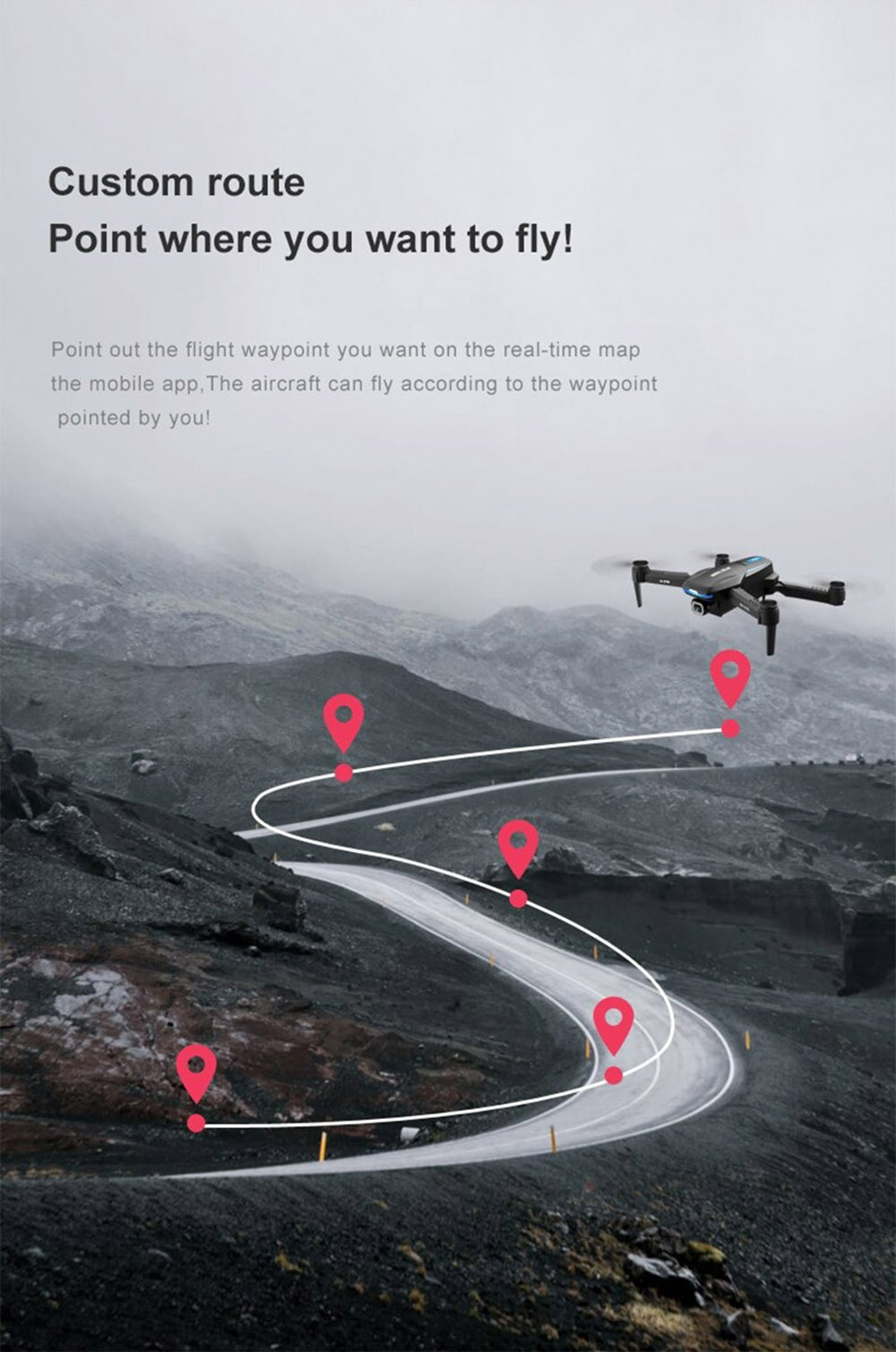 X8GW GPS RC Drone 4K Aerial Double Camera Positioning Automatic Return Remote Control Four-axis Aircraft Quadcopter - Black