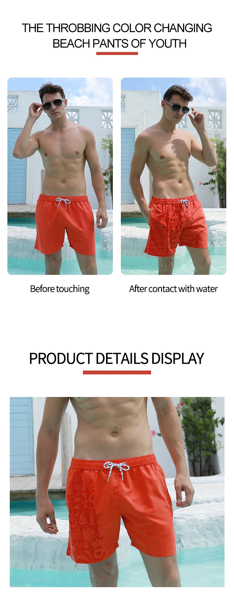 Large Size Quarter-free Short Pants Beach Pants In The Water Flowers Color Changing Magic Print Beach Pants Men's Swimming Trunks - Anchor Purple S