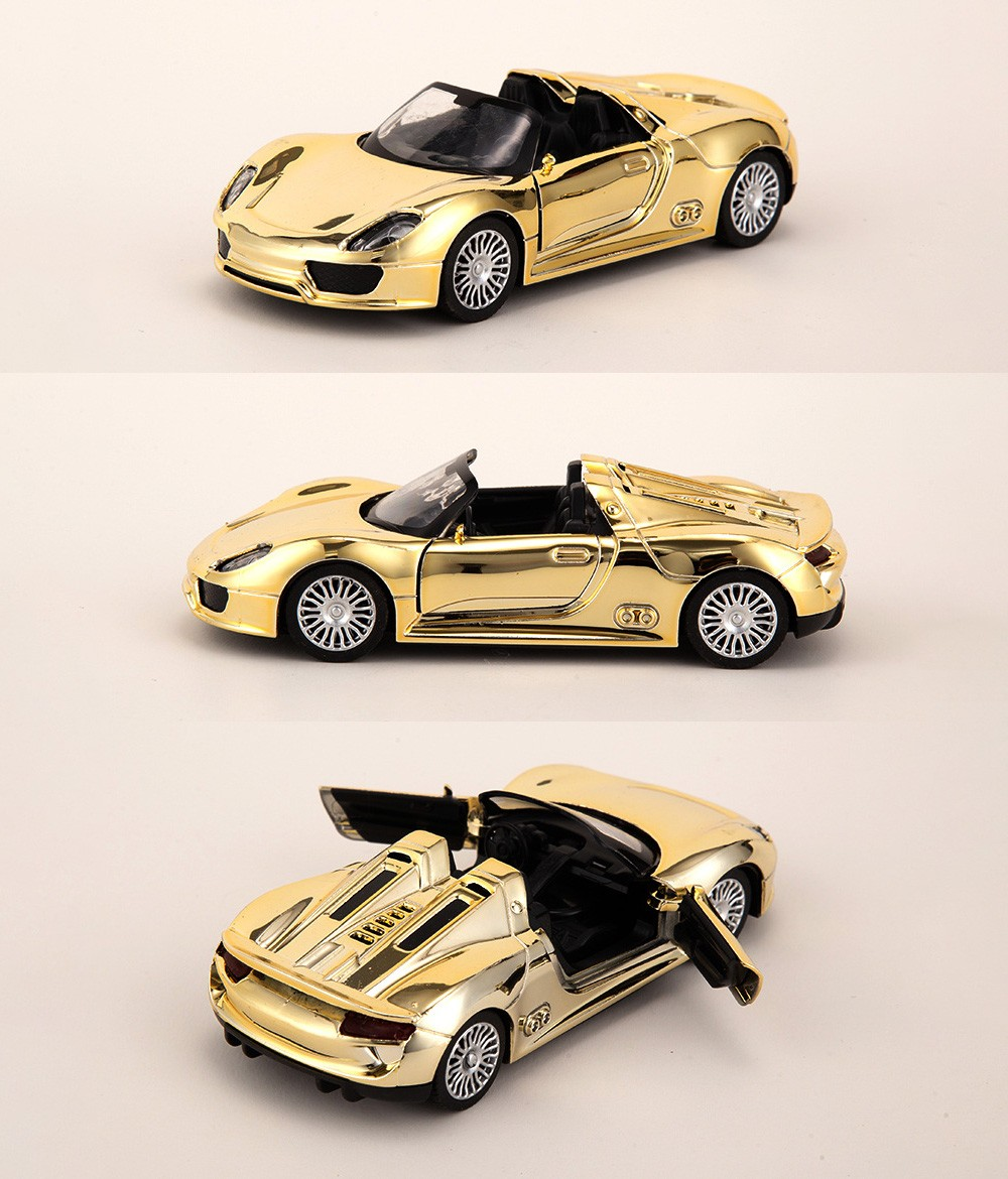 Golden Alloy Car Model Children's Toys Simulation Pull-off Off-road Car Model Cake Baking Decoration - Golden 918 Product Display