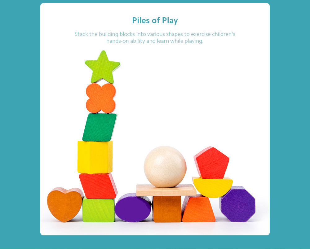 17-hole Intelligence Box Kindergarten Early Education Puzzle Geometric Shape Matching Cognitive Building Block Child Wood Toys - Multi-A Piles of Play
