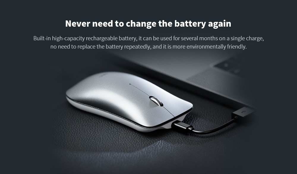 Inphic PM9 Charging Wireless Mouse Office Computer iPad Notebook Four-way Roller Mute Mouse - Platinum