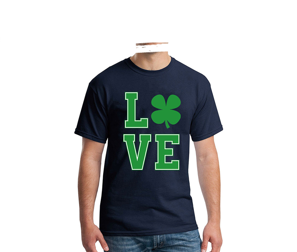Large Size Men Love Four Leaf Clover Print Round Neck Loose Short Sleeve Tee T-shirt - White S