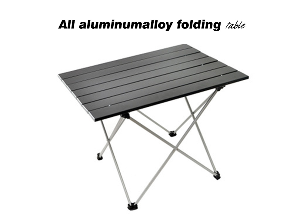 Outdoor Ultra-light Aluminum Alloy Folding Table Camping Picnic Portable Casual Table Beach Fishing Self-driving Coffee Table - Black