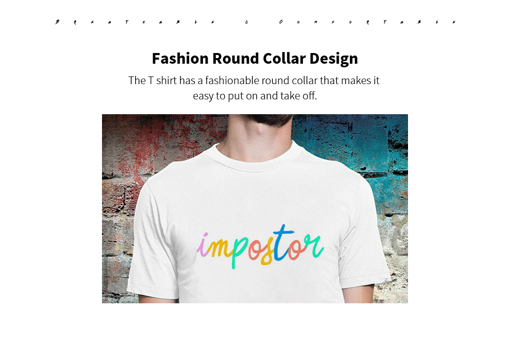 Summer Letter Print T-shirt Round Neck Base Simple Tops - Warm White M