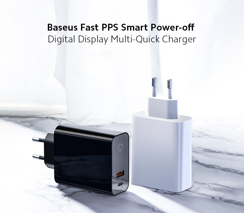 Baseus Fast PPS Smart Power-off Digital Display Multi-Quick Charger PD Mobile Phone Quick Charge Power Adapter (C+U) 45W EU Plug - White