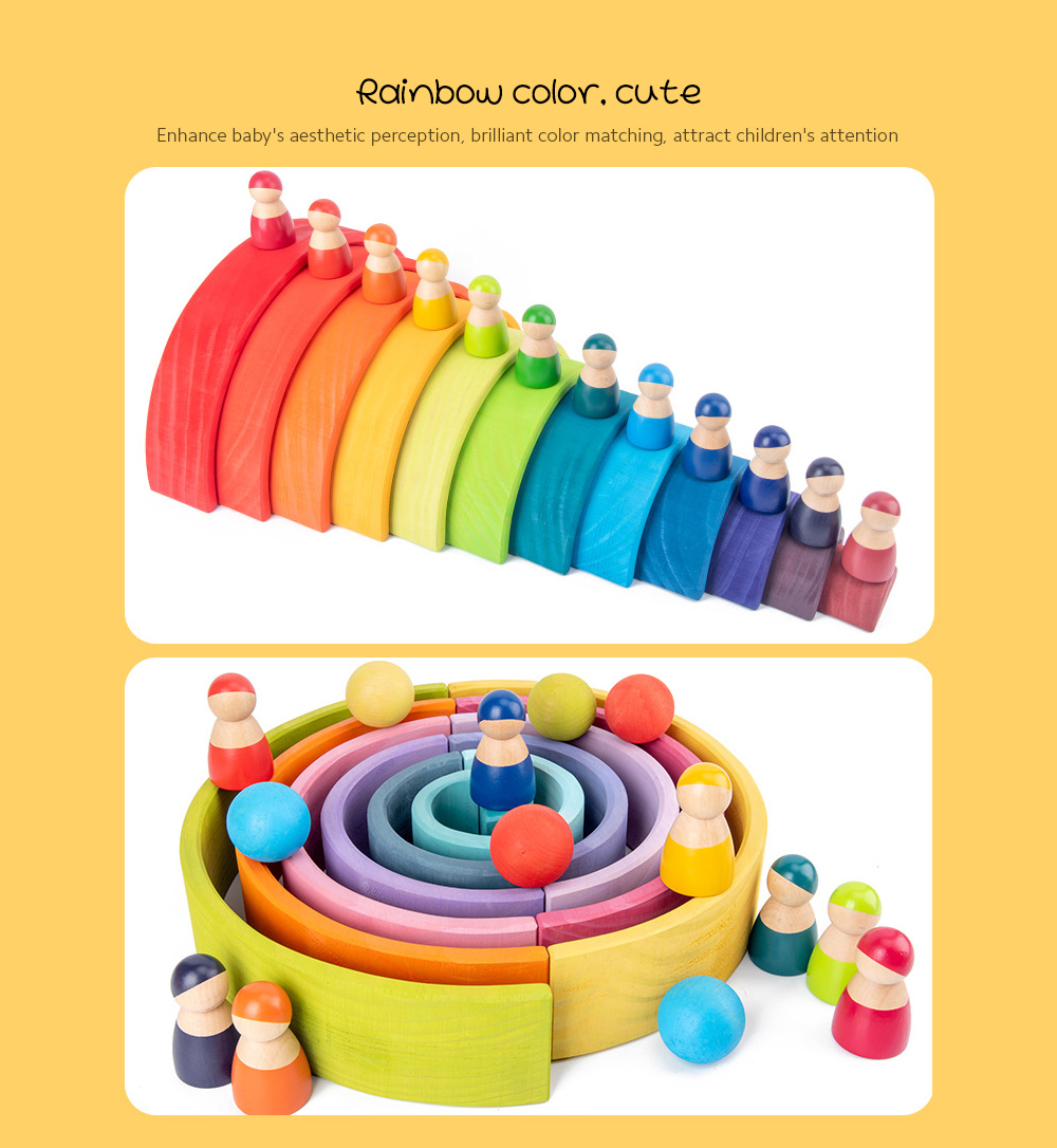 Educational Toy 12 Color Rainbow Small Figure Set Wooden Tray Children Toys - Multi-B Rainbow Color