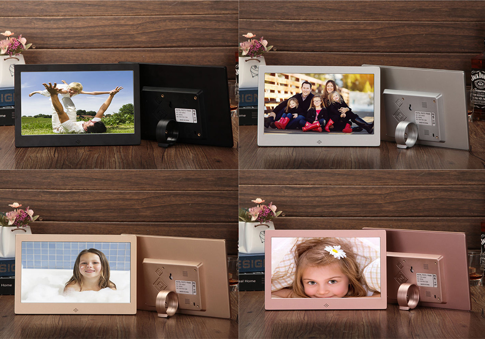 10 Inch LED Metal Shell Digital Photo Frame Loop Play Picture Video Horizontal Vertical Recognition HD Electronic Photo Album - Champagne Gold Product display