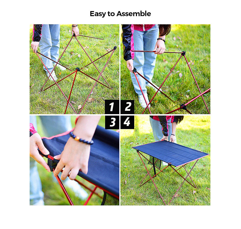 Outdoor Aluminum Alloy Folding Table Leisure Mesh Beach Table Portable BBQ Picnic Table - Small - Golden