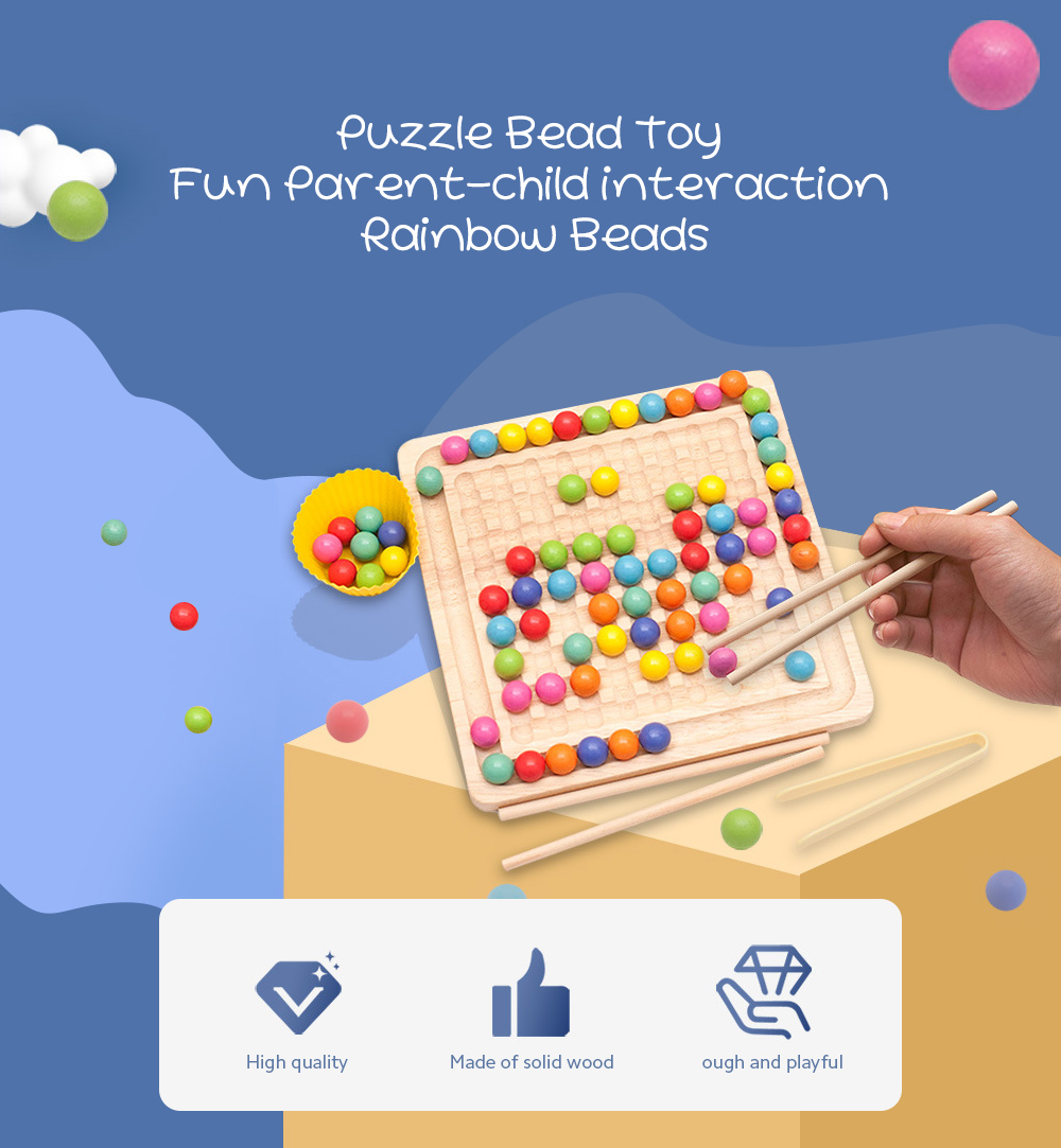 Fun Rainbow Beads Toy Happy Diminishing Fun Early Childhood Education Parent-child Interaction Concentration Bead Training - Multi-A