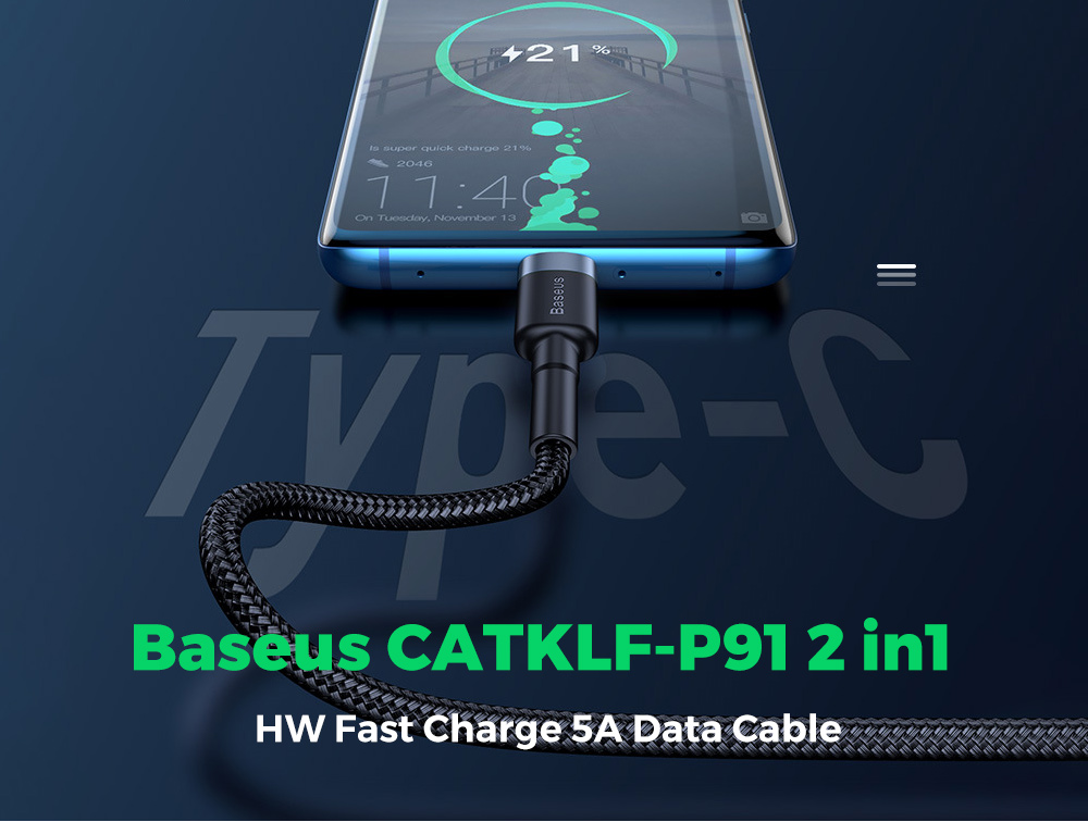 Baseus CATKLF-P91 HW Fast Charge 5A Data Cable USB Double-sided Blind Plug Type-C Two-in-One QC3.0 40W 1m - Multi-C