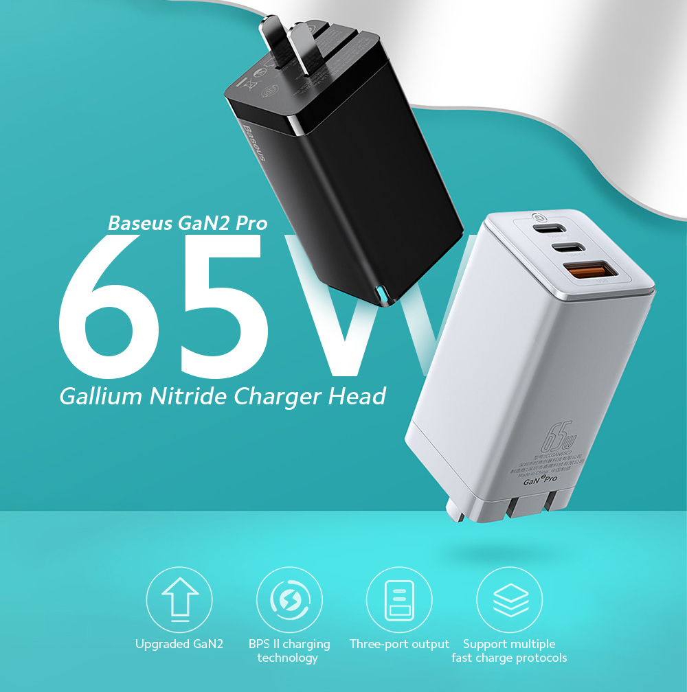 Baseus GaN2 Pro 65W Gallium Nitride Charger Head New Second Generation Upgrade Mobile Phone Tablet Universal PD Fast Charge Power Adapter - Black EU Plug