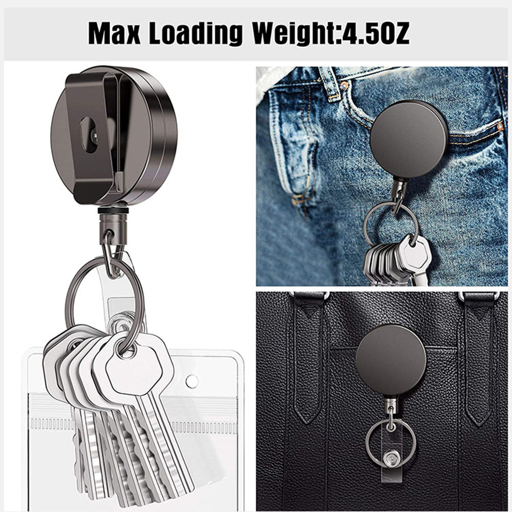 Electro-plated Metal Easy Pull Buckle Telescopic Key Buckle Keychain - Black