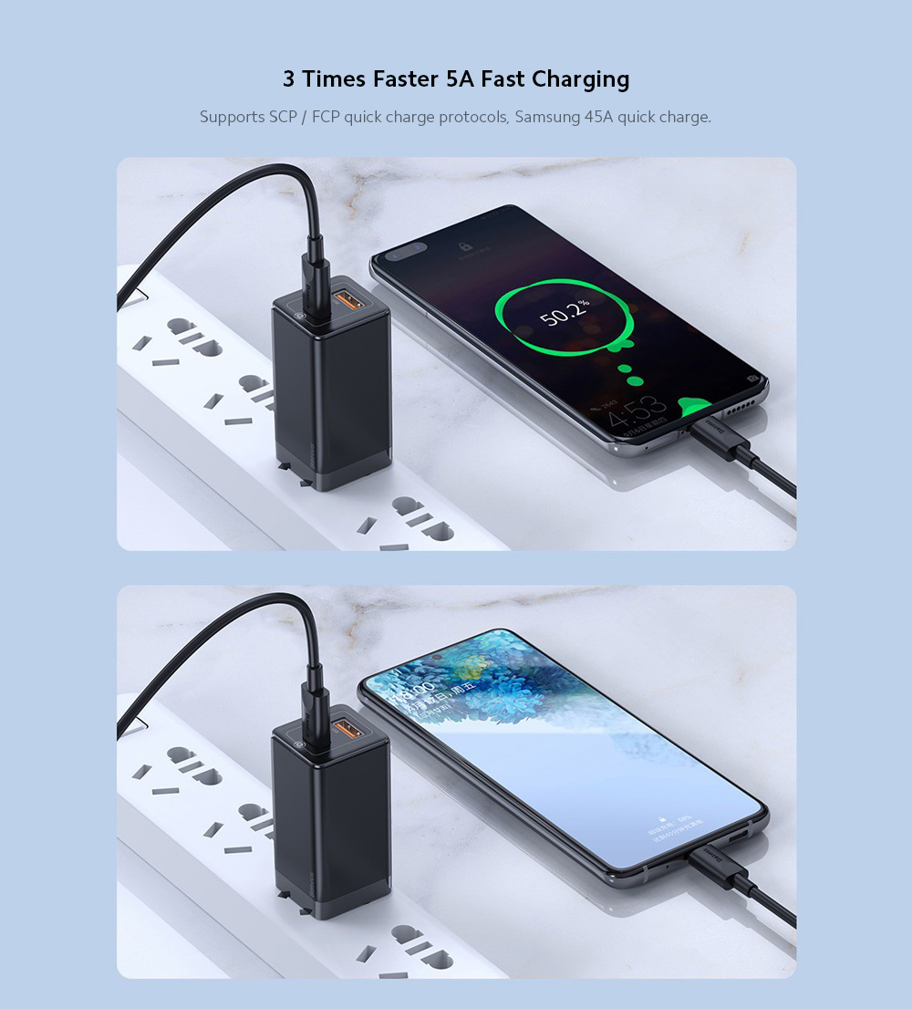 Baseus Chargers 45W Mini Charger Charging Head Mobile Phone Notebook QC Fast Charge Power Adapter - Black US Plug (2-pin)