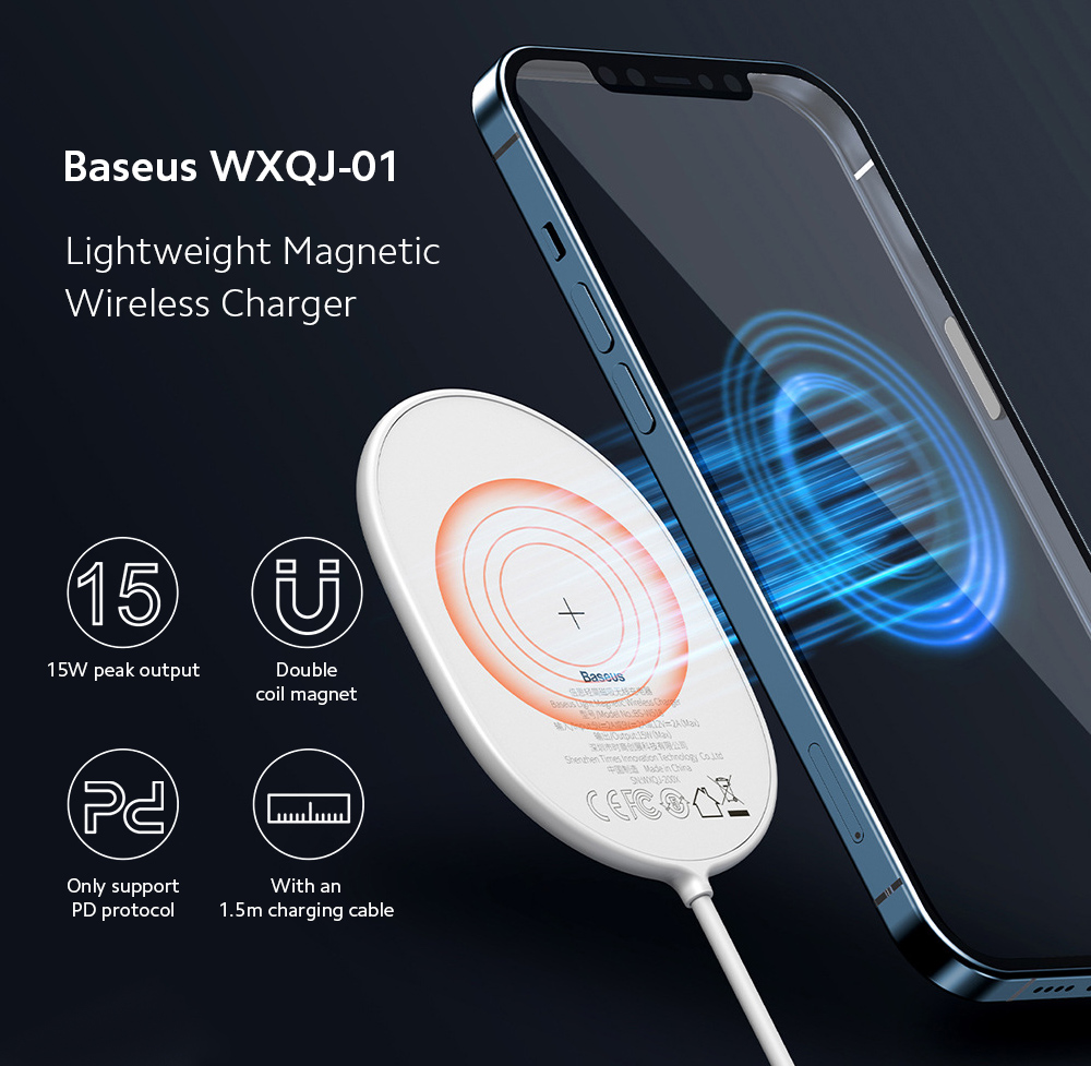 Baseus WXQJ-01 Lightweight Magnetic Wireless Charger for iPhone Huawei Xiaomi Mobile Phone Fast Charge Universal Charging Base - Black