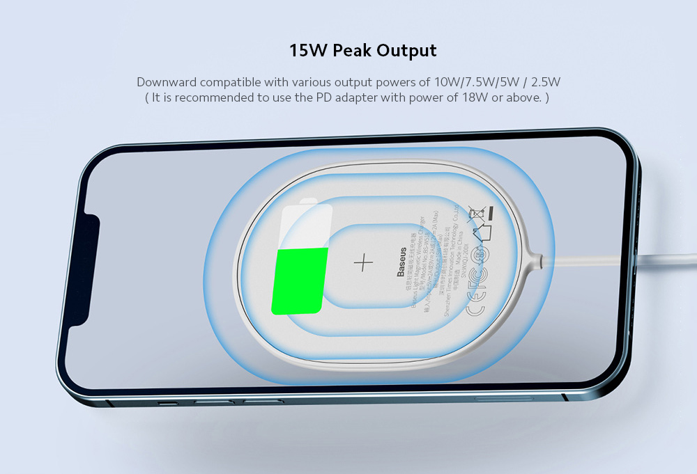 Baseus WXQJ-01 Lightweight Magnetic Wireless Charger for iPhone Huawei Xiaomi Mobile Phone Fast Charge Universal Charging Base - White