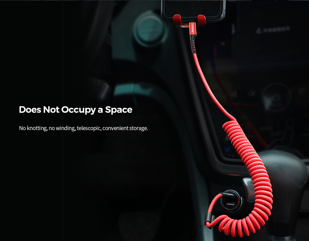 Baseus CALSR-01 IP 2A Charging / Transmission without Pop-up Window Mobile Phone Data Cable TYPE-C Fisheye Car Spring Data Line 1M - Red USB Type-C