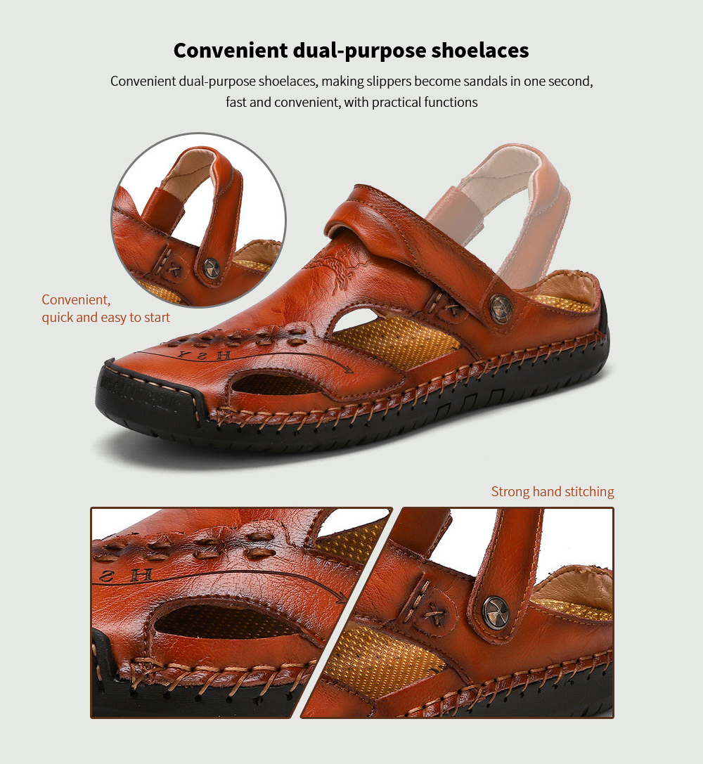 Summer Men's Casual Sandals Breathable Trend Outdoor Beach Men's Shoes - 868 Yellow Brown 45