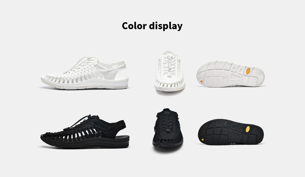 Large Size Sandals Female Casual Sports Shoes Roman Woven Sandals Men And Women Beach Shoes Breathable - Black 8888 36