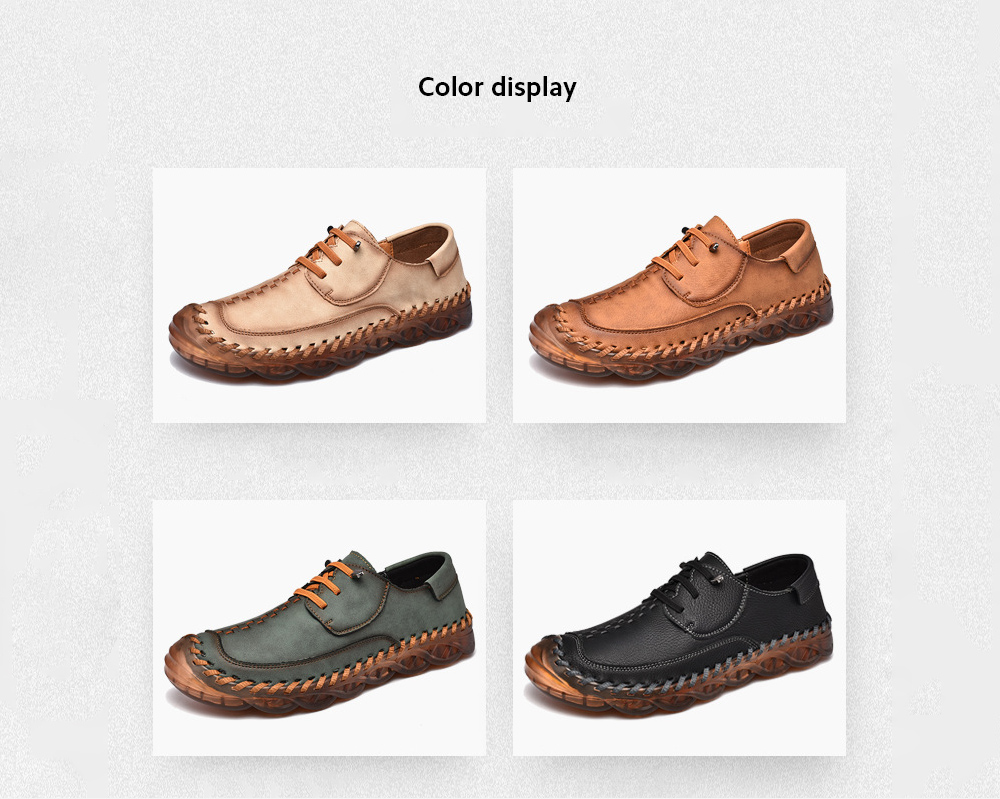 Spring Large Size Handmade Shoes Men's Breathable Trend Peas Shoes Thick Bottom All-match Casual Shoes - 587 Black 38