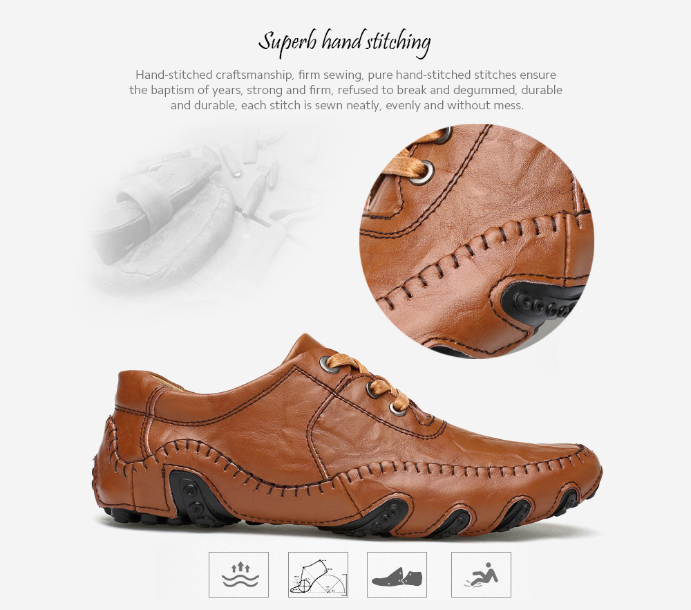 Men's Casual Leather Shoes Soft Bottom Fashion Driving Shoes - Stripped Soil 43