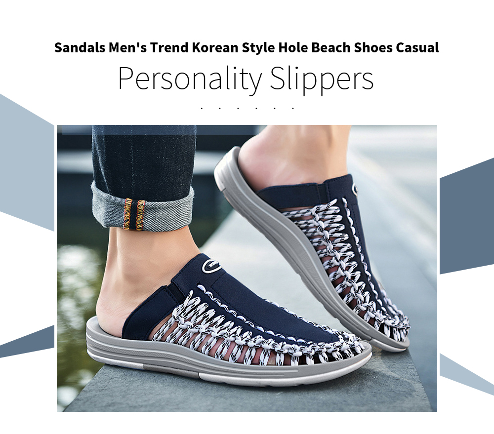 Sandals Men's Summer Trend Korean Version Of The Head Hole Beach Shoes Casual Personality Men's Slippers Large Size - Blue 578 Sets Of Feet 42
