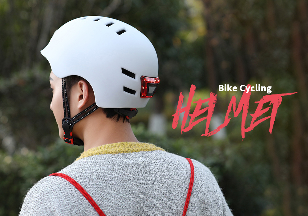 12 Holes Smart Bike Helmet Adjustable Head Circumference Cycling Sports Protective Gear with Front Lighting and Back Warning Light - Black L