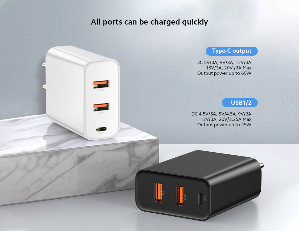 Baseus CCFS-G01 Fast Speed PPS Three Ports Output 60W Fast Charge Charger EU Plug High Power PD Quick Charging Power Adapter - White