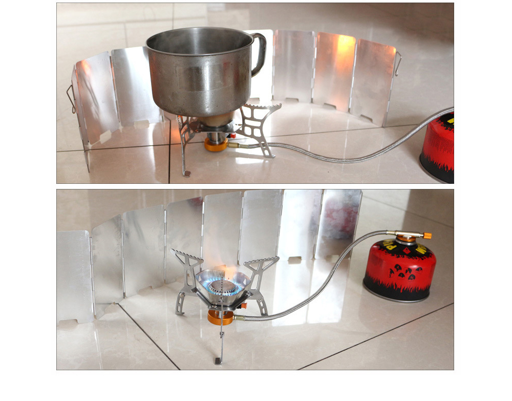 Portable Gas Stove Piezo Ignition Stove Split Gas Furnace Outdoor Camping Stove with Gas Burner Adapter Camping Equipment - Silver