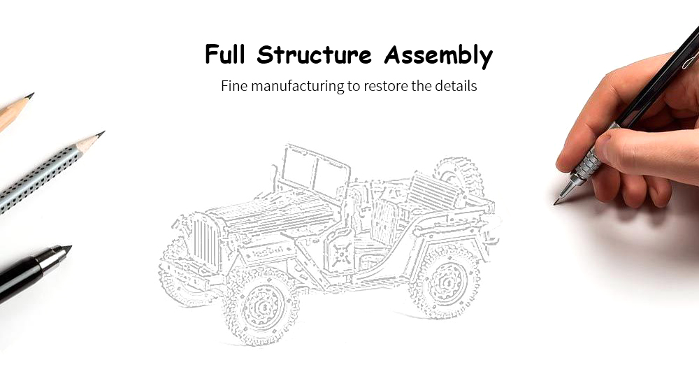 Block Toy Handmade Assembled Jeep Wooden Toy DIY Children Adult 3D Toy Model - BurlyWood
