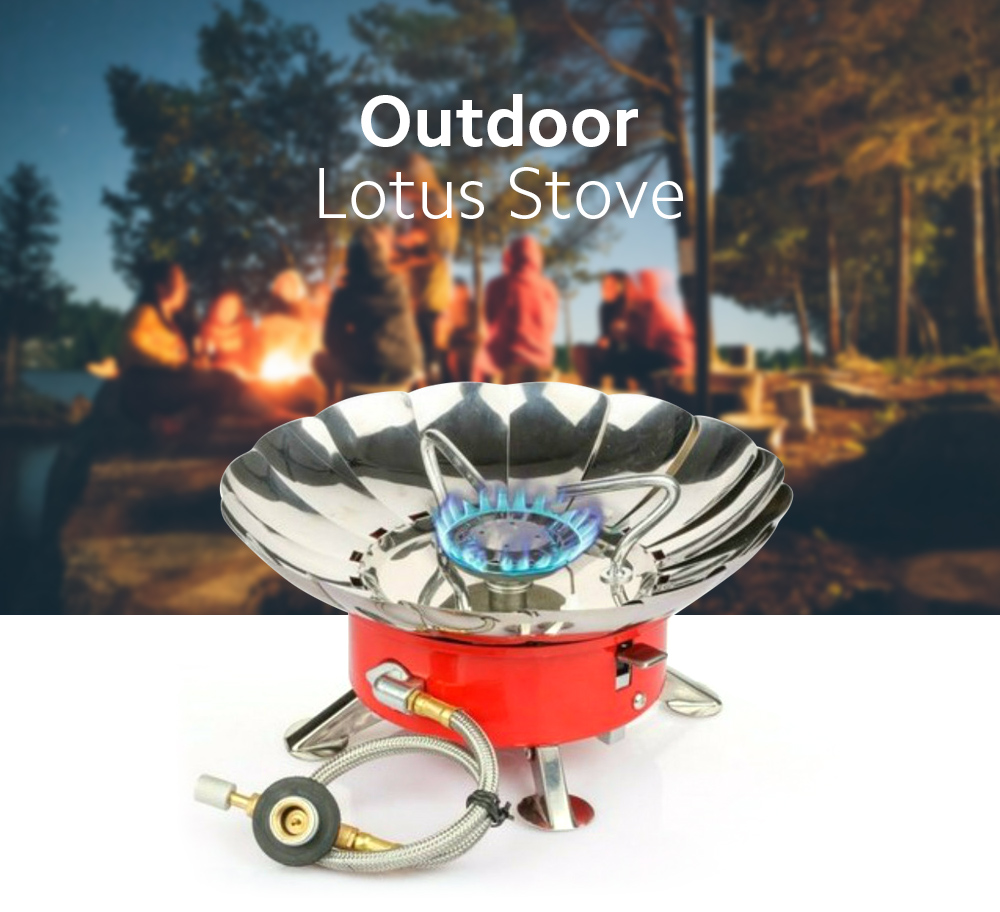 Lotus Stove with Tube Windproof Burner Outdoor Camping Cooking Gas Stove - Orange