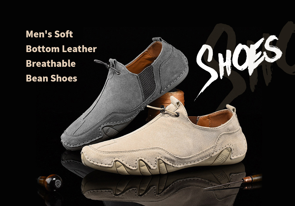 Men's Leather Soft Bottom Breathable Bean Driving Shoes - Gray 2031 43