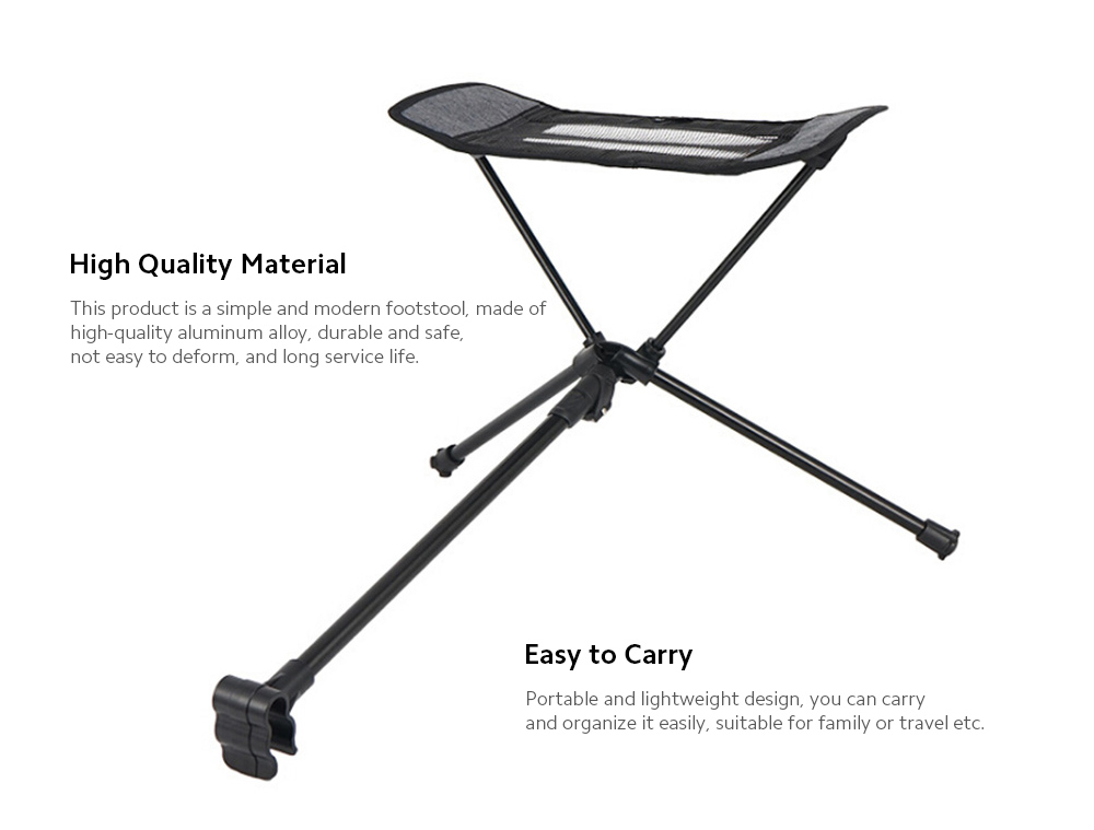 Portable Stool Collapsible Footstool for Camping Beach Chair - Black