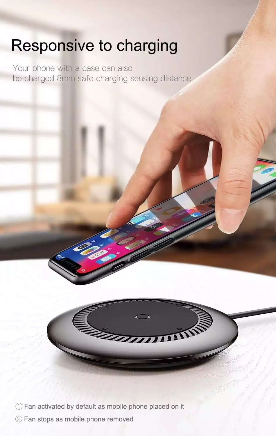 Baseus CCALL Cyclone Desktop Wireless Mobile Phone Smart Fixed Frequency Charger (with Fan Cooling Function) - Silver