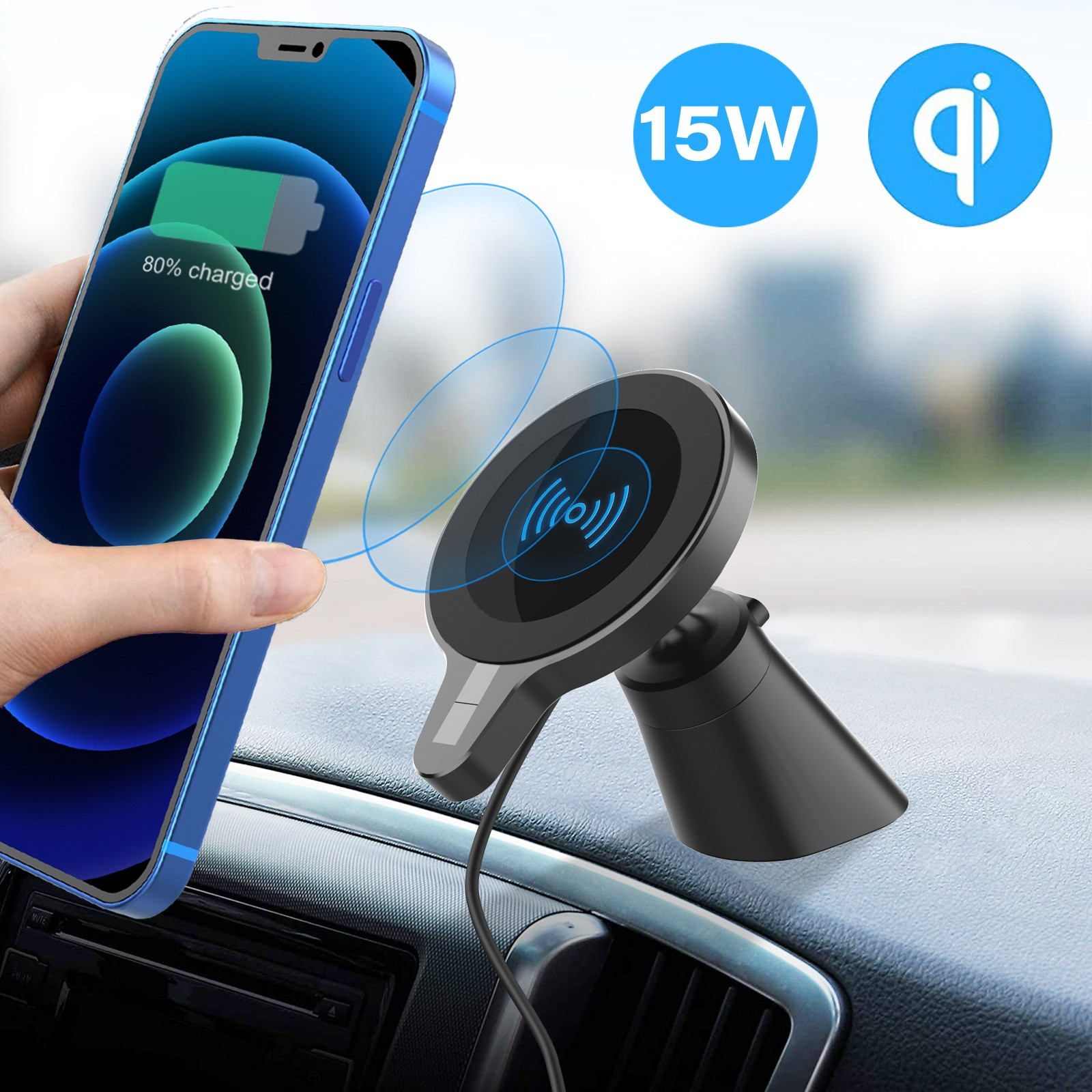 WH-22 Car Wireless Charger Mobile Phone Bracket for iPhone 12 Series - Black