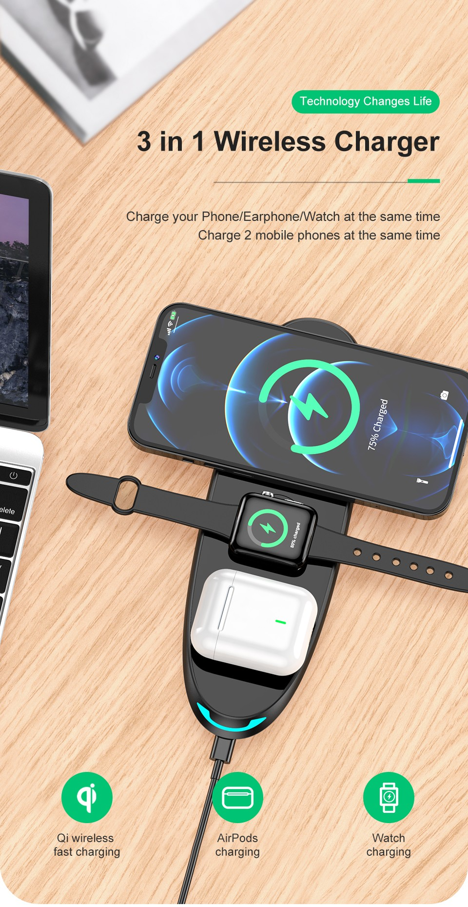KUULAA KL-O152 Three-in-one Wireless Fast Charging Charger for iOS Mobile Phone Watch Headphones - Black