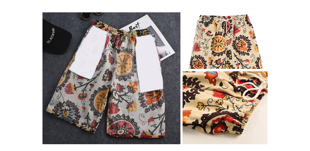 Summer Cotton and Linen Printed Beach Pants Men's Loose Large Size Quick-drying Shorts - No. 27 5XL (150-200 Kg)