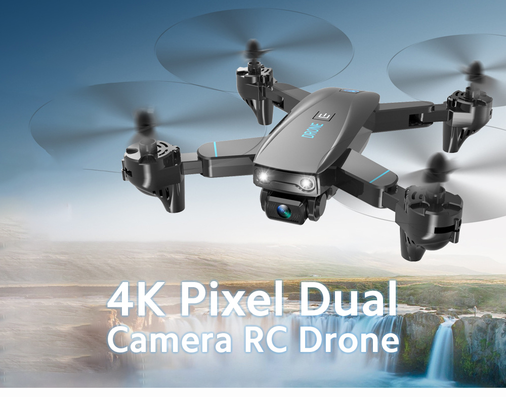 S173 4K Dual Camera Folding Drone Remote Control UAV Aerial Long Battery Life Quadrocopter Fixed Height RC Aircraft Toy - Black 4K Single Camera