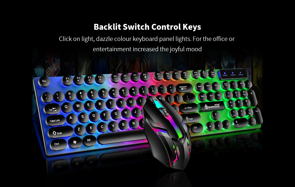 K290 Wired Manipulator Feeling Gaming Computer Keyboard Luminous Punk Suspended Keyboard and Mouse Set - Black Keyboard