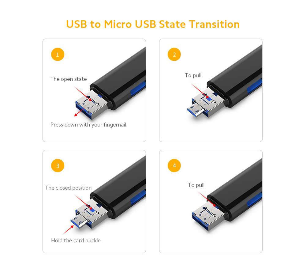 Android General Type-C Card Reader Readable U Disk TF Card Multi-function Android Micro Mobile Phone General Purpose - White