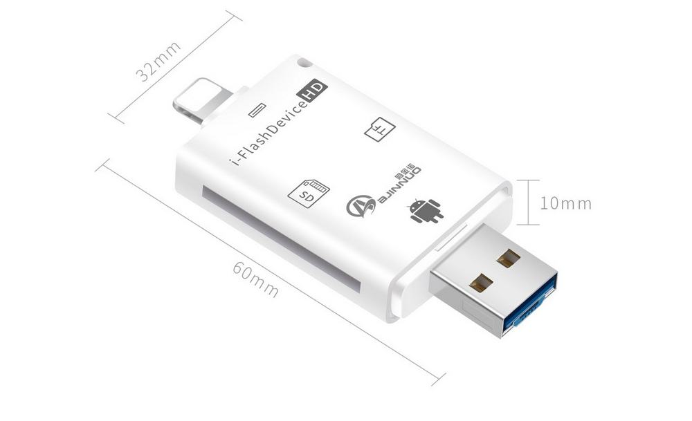 Mobile Computer Card Reader Multi-function iOS Android General TF Camera SD Card OTG Card Reader - White