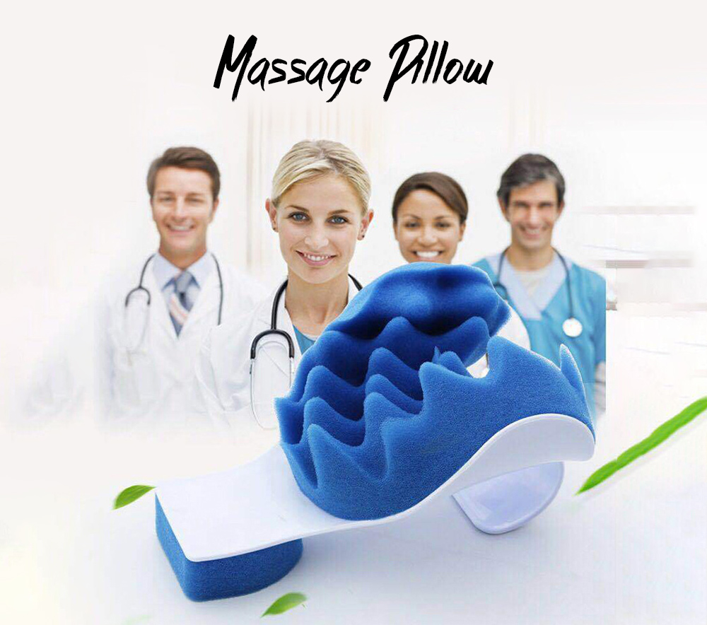 Massage Pillow Creative Headrest Portable Car Head and Neck Support Pillow Multi-function Cervical Pillow - White