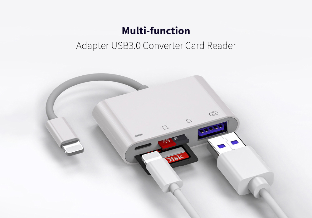 USB3.0 Converter Card Reader Four-in-one Large Current TF SD Card Multi-function Adapter for iOS System Mobile Phone - White